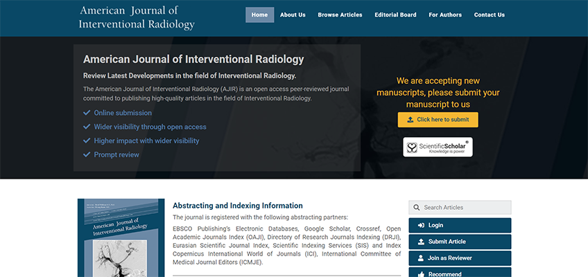 Launch of New Journal of Interventional Radiology