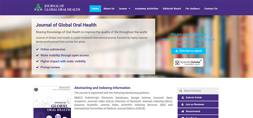 Launch of The Journal of Global Oral Health