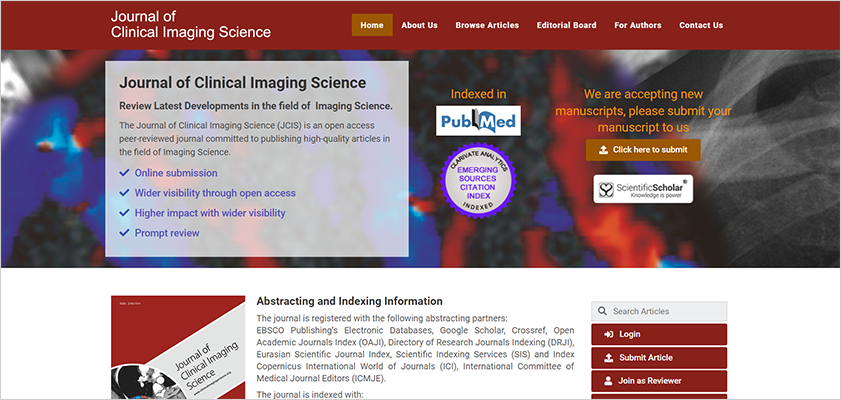 Journal of Clinical Imaging Science (JCIS) has a New Publisher